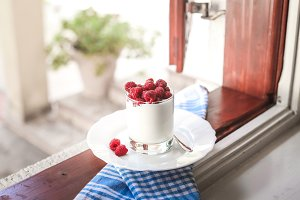yogurt and fresh raspberries