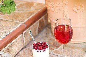 healthy breakfast with raspberries