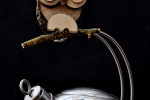 Kettle and wooden owl