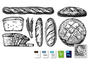 set of different breads