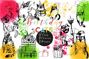 Funny birthday cats