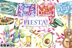 Mexican Fiesta watercolor Clip art