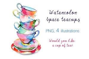 Watercolor space teacups