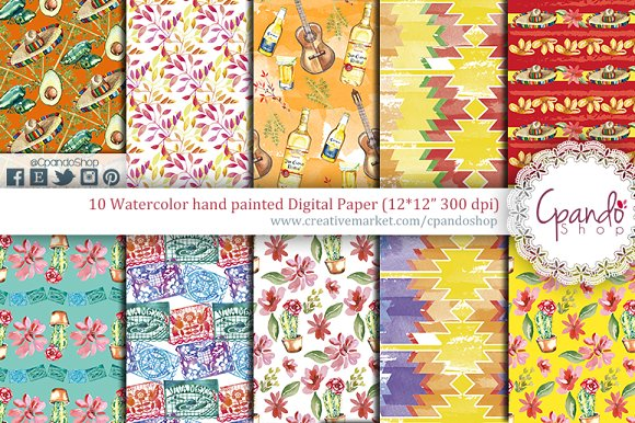Fiesta Watercolor Digital Paper