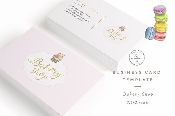 bakery shop business card template business card templates on creative market. Black Bedroom Furniture Sets. Home Design Ideas