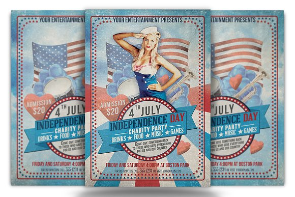 Independence Day Flyer And Ticket