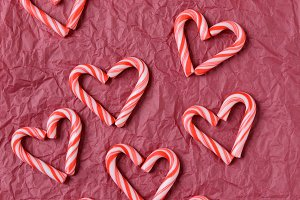 Candy Cane Hearts on Tissue Paper