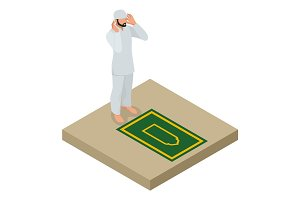 Muslim man prays flat vector isometric illustration on white background