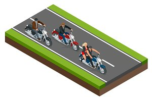 Isometric bikers on a motorcycle on the road. The concept of freedom and travel.
