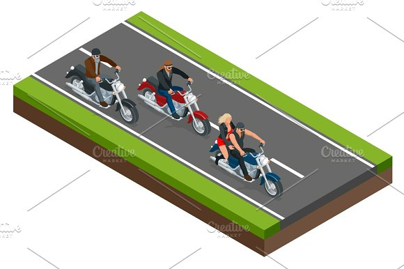 Isometric Bikers On A Motorcycle On The Road The Concept Of Freedom And Travel