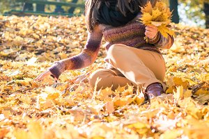 beautiful girl in autumn Park