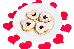 Red hearts and heart cookies