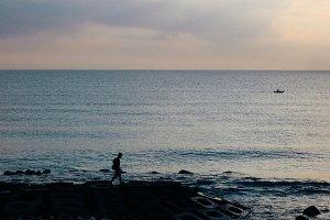 Beautiful sunset sea