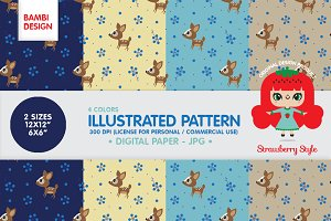 "Illustrated Pattern ""Bambi"" kawaii"