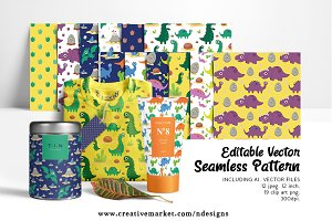 Dinosaur Seamless Pattern, Editable