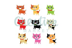 Happy Kitten Vector Set
