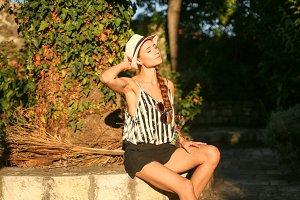 Girl on walk in hat