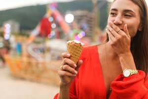 young woman with ice cream