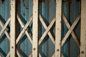 Folding old metal door gate