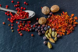 spices on slate background - cooking