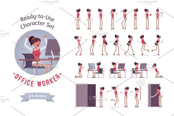 Ready-to-use Young Female Office Worker Character Set Different Poses And Emotions