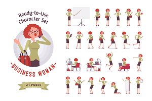 Ready-to-use businesswoman character set, different poses and emotions