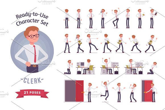 Ready-to-use Young Male Clerk Character Set Different Poses And Emotions