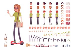 Teenager girl character creation set