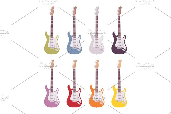 Set Of Colored Electric Guitars