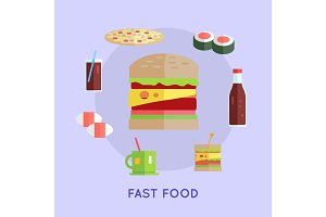 Fast Food Vector Conceptual Illustration.