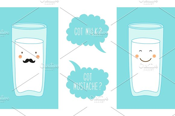 Cute Hand Drawn Cartoon Characters Of Milk