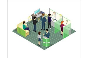 Banking Services Vector in Isometric Projection.