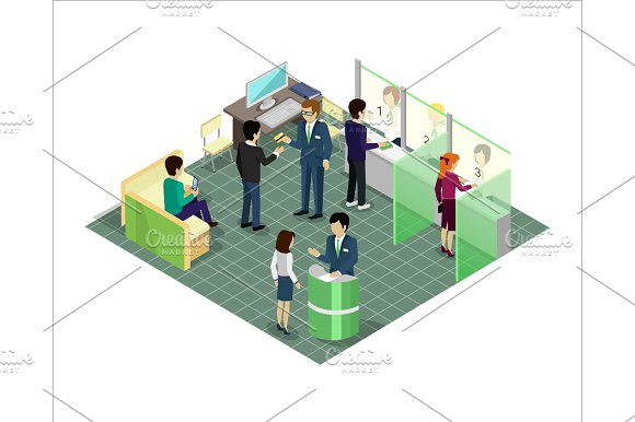 Banking Services Vector In Isometric Projection