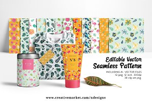 Tropical Seamless Editable Pattern