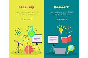 Set of Scientific Vector Web Banners in Flat Style