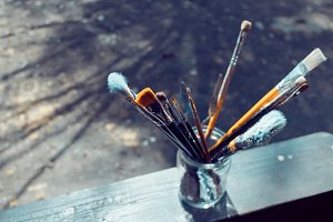 Paint brushes in a glass jar #2