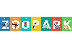 Zoo Park Conceptual ABC Flat Style Vector Banner