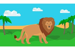 Funny Lion in Savanna