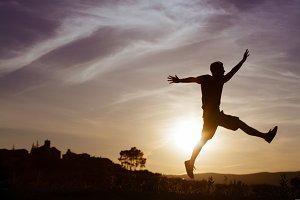 Man silhouette jump