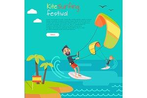 Kitesurfing Festival Banner. Style of Kiteboarding