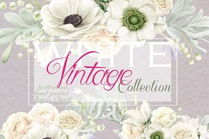 White Vintage - Anemones & Roses