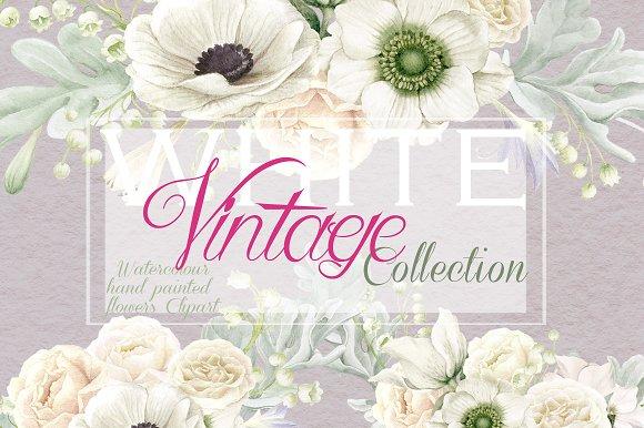 White Vintage Anemones Roses