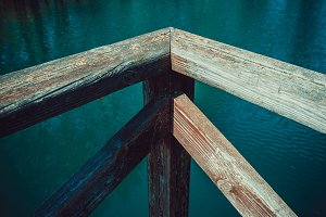 Wooden jetty on the lake shore