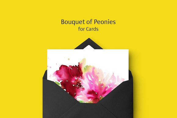 Bouquet Of Peonies For Cards