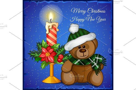 Plush Christmas Bear With Candle