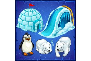 Residents of Antarctica and ice house