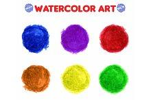 Colorful watercolor paint circles
