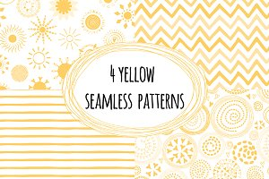 4 Yellow Seamless Patterns