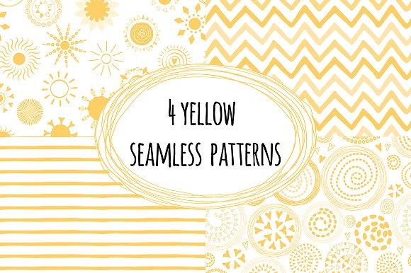 4 Yellow Seamless Patterns