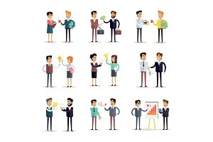 Set of Business Concepts Vector in Flat Design.